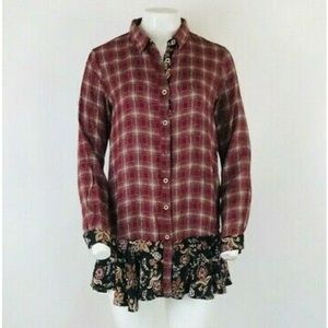 Anthropologie Plaid Floral Tunic Top